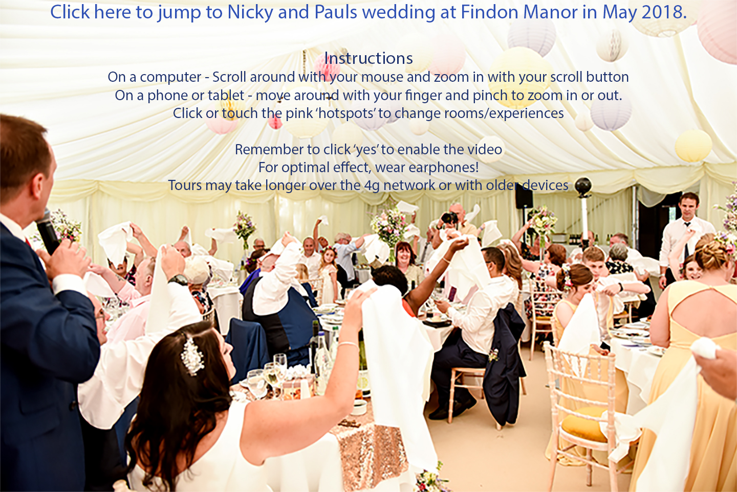 wedding reception filmed by 360 camera